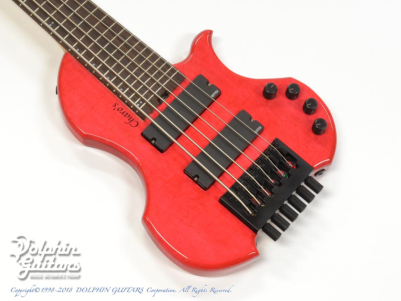 Charo's:CH-B6 Compact Headless Bass (Figured Maple) (Trans Brilliant Red)