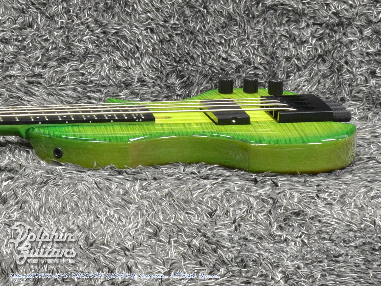 Charo's: CH-B4 Compact Headless Bass (Curly Maple & Alder) (Tropical Forest) (2)