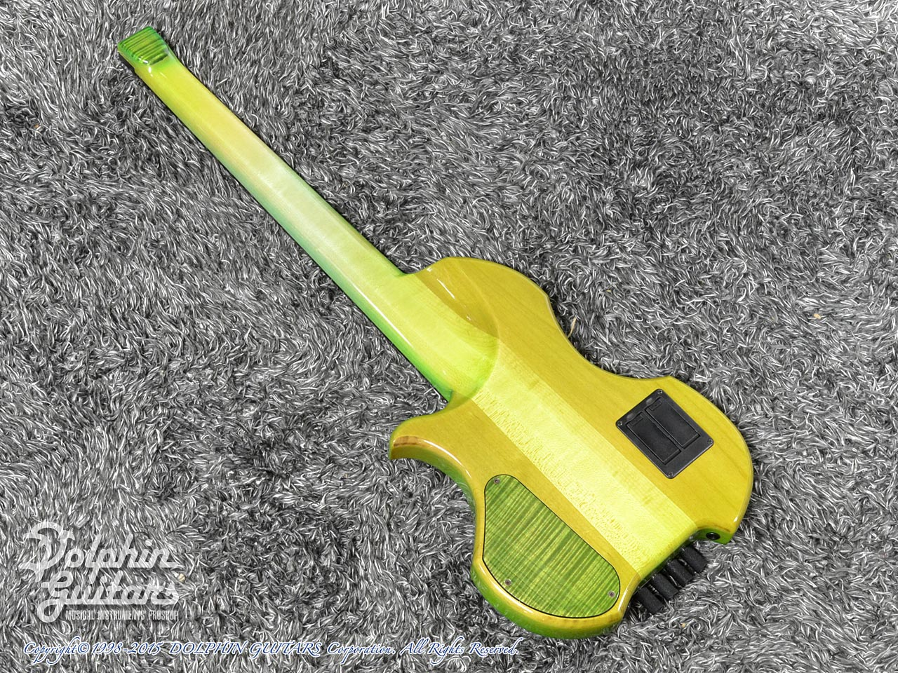Charo's: CH-B4 Compact Headless Bass (Curly Maple & Alder) (Tropical Forest) (4)