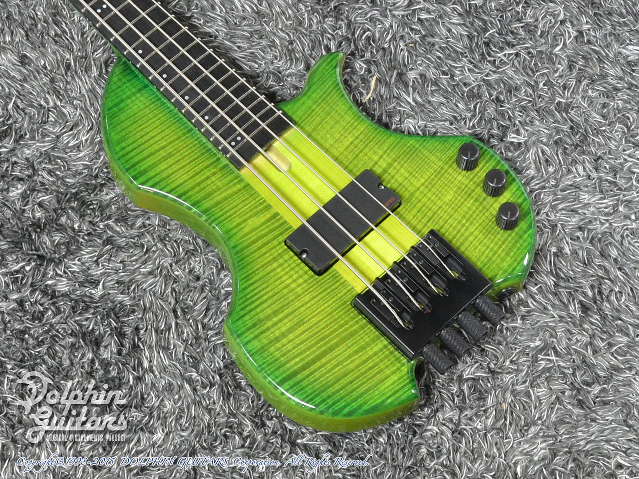 Charo's: CH-B4 Compact Headless Bass (Curly Maple & Alder) (Tropical Forest) (1)