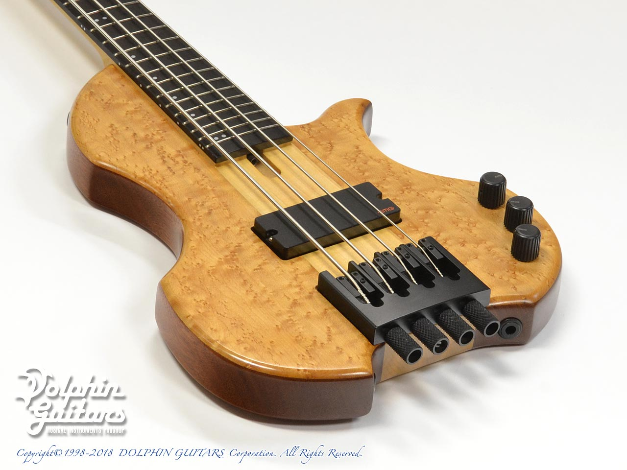 Charo's: CH-B4 Compact Headless Bass (Birdseye Maple & Mahogany) (9)